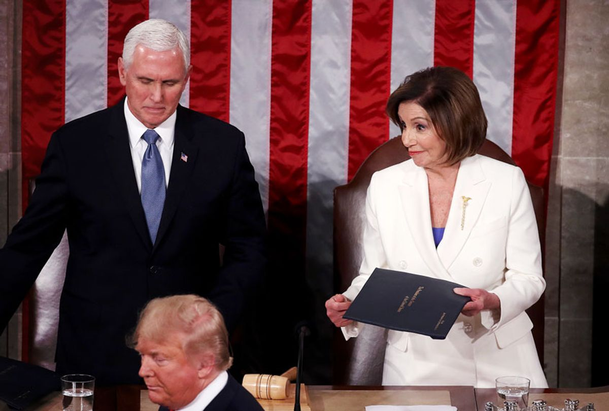 House Speaker Rep. Nancy Pelosi (D-CA) and Vice President Mike Pence look on as President Donald Trump steps to the lectern for the State of the Union address in the chamber of the U.S. House of Representatives on February 04, 2020 in Washington, DC. President Trump delivers his third State of the Union to the nation the night before the U.S. Senate is set to vote in his impeachment trial.  (Mark Wilson/Getty Images)