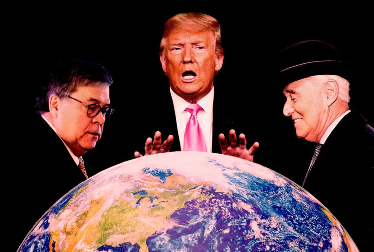 Bill Barr, Donald Trump and Roger Stone (AP Photo/Salon)
