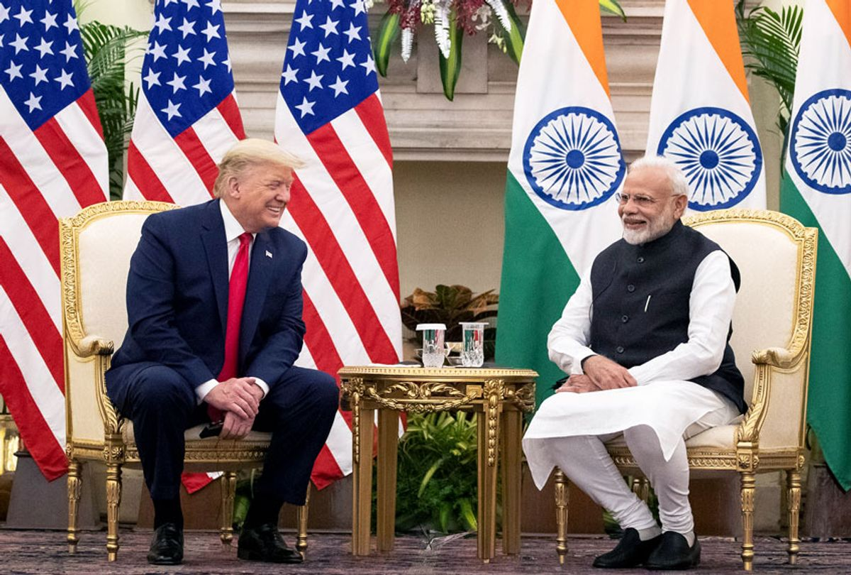 U.S. President Donald Trump and Indian Prime Minister Narendra Modi smile before a meeting at Hyderabad House, Tuesday, Feb. 25, 2020, in New Delhi, India.  (AP Photo/Alex Brandon)