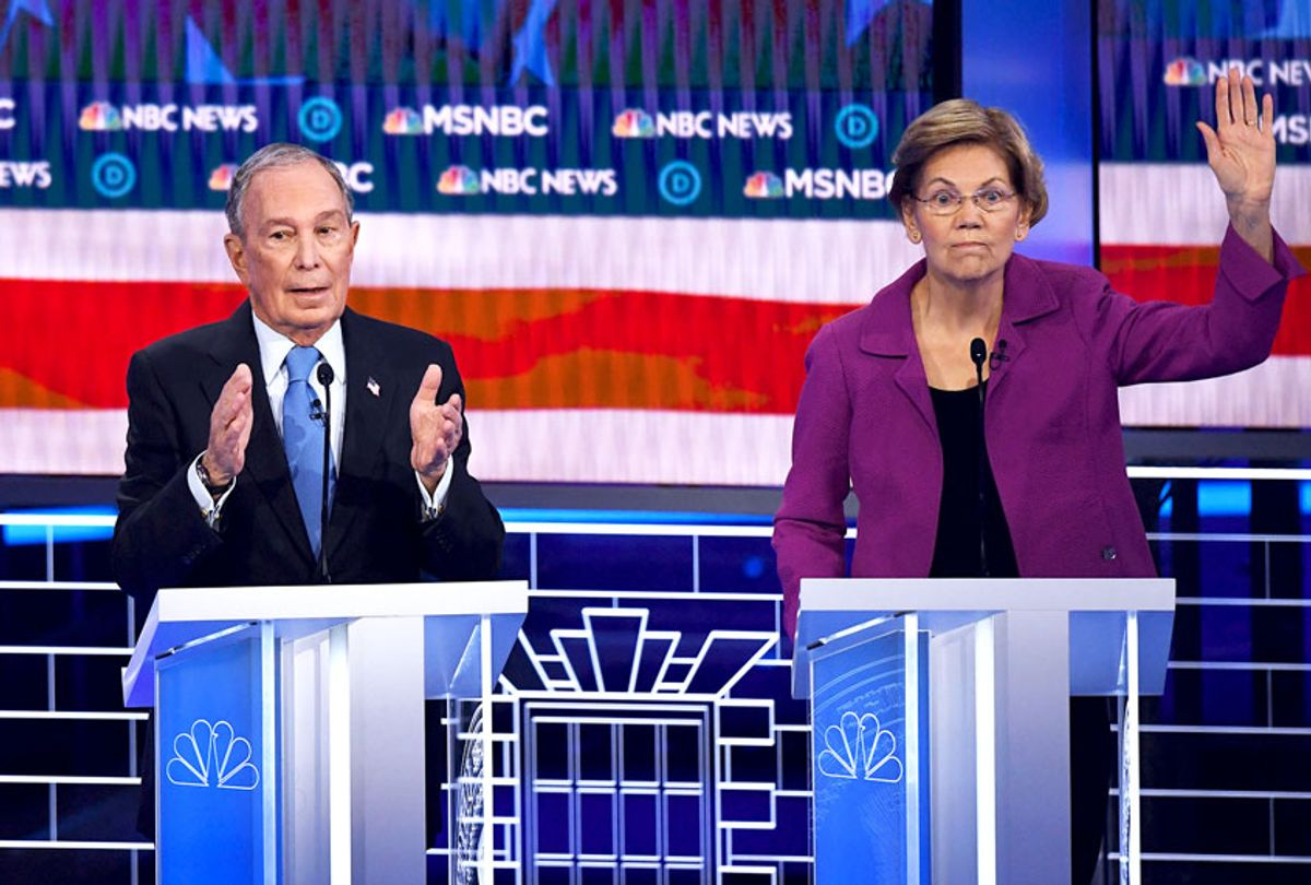 Democratic presidential hopeful Massachusetts Senator Elizabeth Warren (R) gestures next to former New York Mayor Mike Bloomberg during the ninth Democratic primary debate of the 2020 presidential campaign season co-hosted by NBC News, MSNBC, Noticias Telemundo and The Nevada Independent at the Paris Theater in Las Vegas, Nevada, on February 19, 2020.  (MARK RALSTON/AFP via Getty Images)