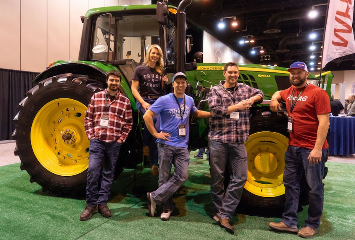 YouTube Farmers, from left: Zach Johnson, Meredith Barnard, Nick Welker, Ryan Kester, and Tony Fast. (Photo courtesy of YouTube)