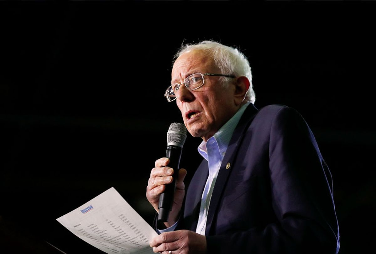 Democratic presidential candidate Sen. Bernie Sanders, I-Vt., talks during a campaign rally in Detroit, Friday, March 6, 2020.  (AP Photo/Paul Sancya)