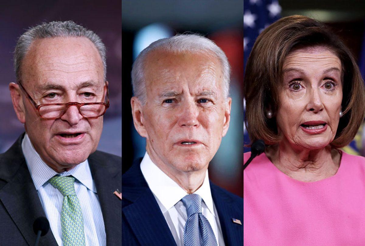 Chuck Schumer, Joe Biden, and Nancy Pelosi (AP Photo/Getty Images/Salon)