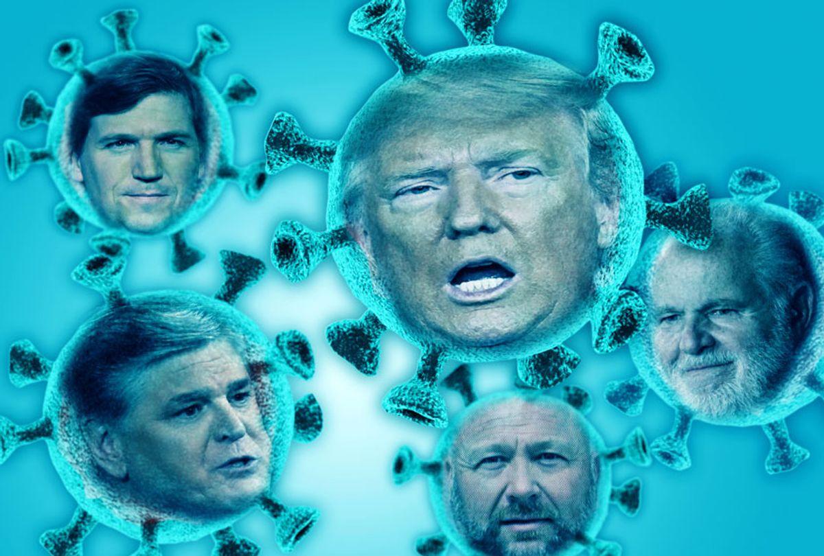 Donald Trump, Tucker Carlson, Rush Limbaugh, Alex Jones and Sean Hannity (Getty Images/AP Photo/Salon)
