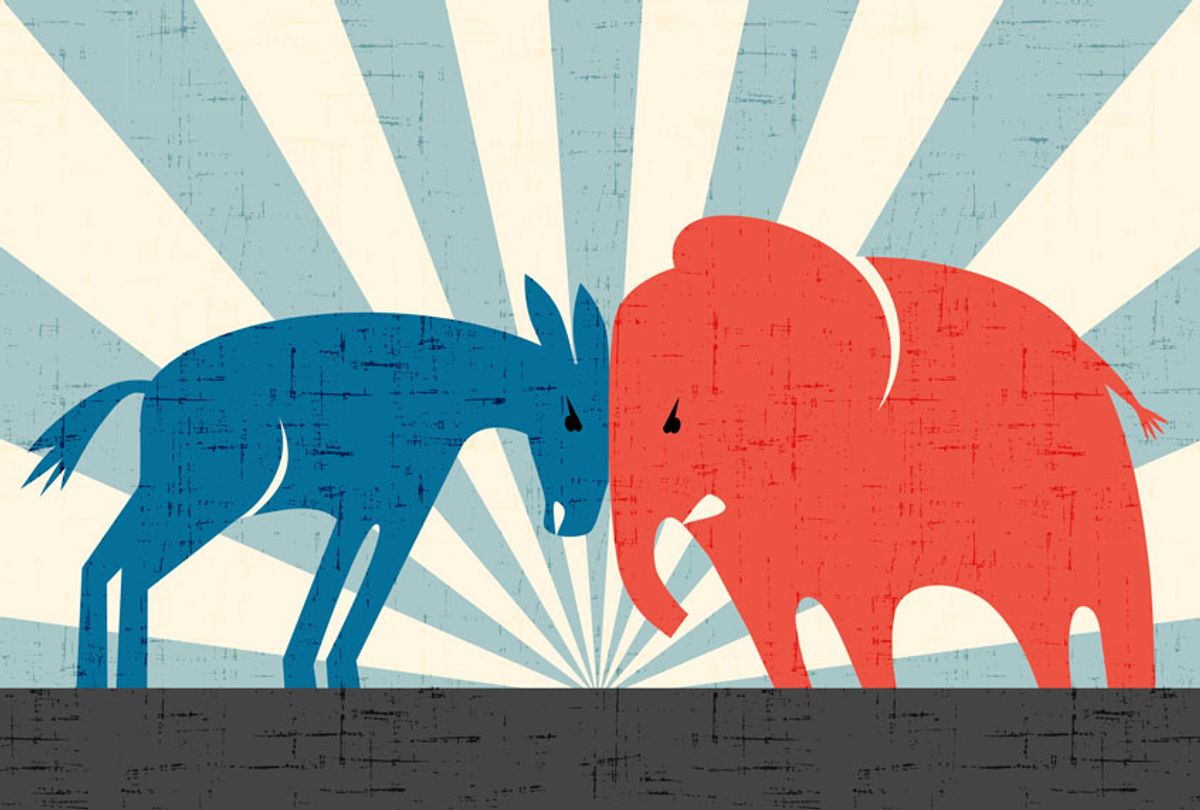 Democratic donkey and Republican elephant butting heads (Getty Images/teddyandmia)