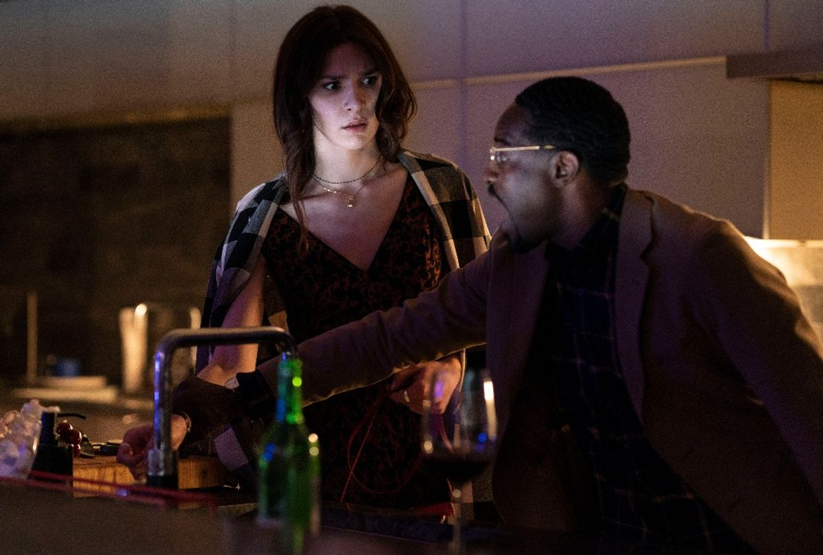"""Eve Lindley and Andre Benjamin in """"Dispatches From Elsewhere"""" (AMC)"""