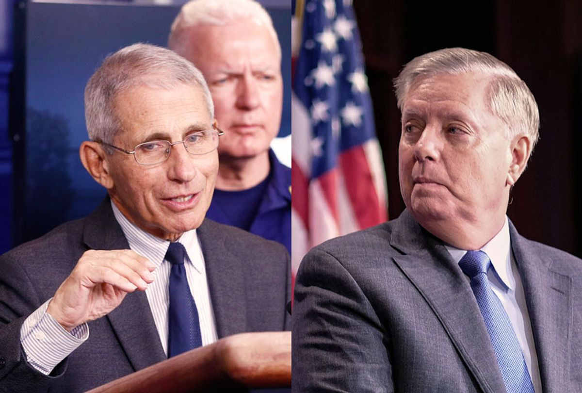 Director of the National Institute of Allergy and Infectious Diseases Dr. Anthony Fauci and Senator Lindsey Graham (Alex Wroblewski/Getty Images/AP Photo/Patrick Semansky)