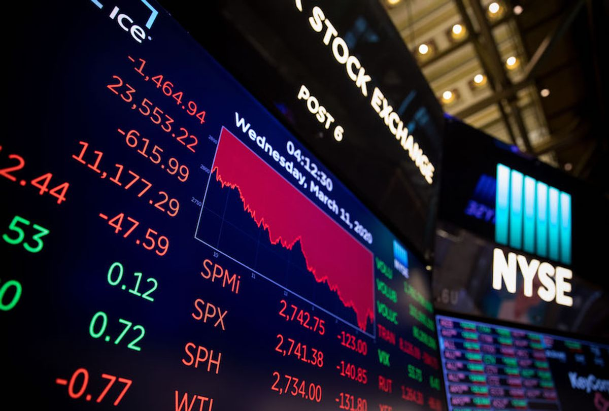 Screens show trading data at the New York Stock Exchange in New York, the United States, on March 11, 2020.  (Michael Nagle/Xinhua via Getty)
