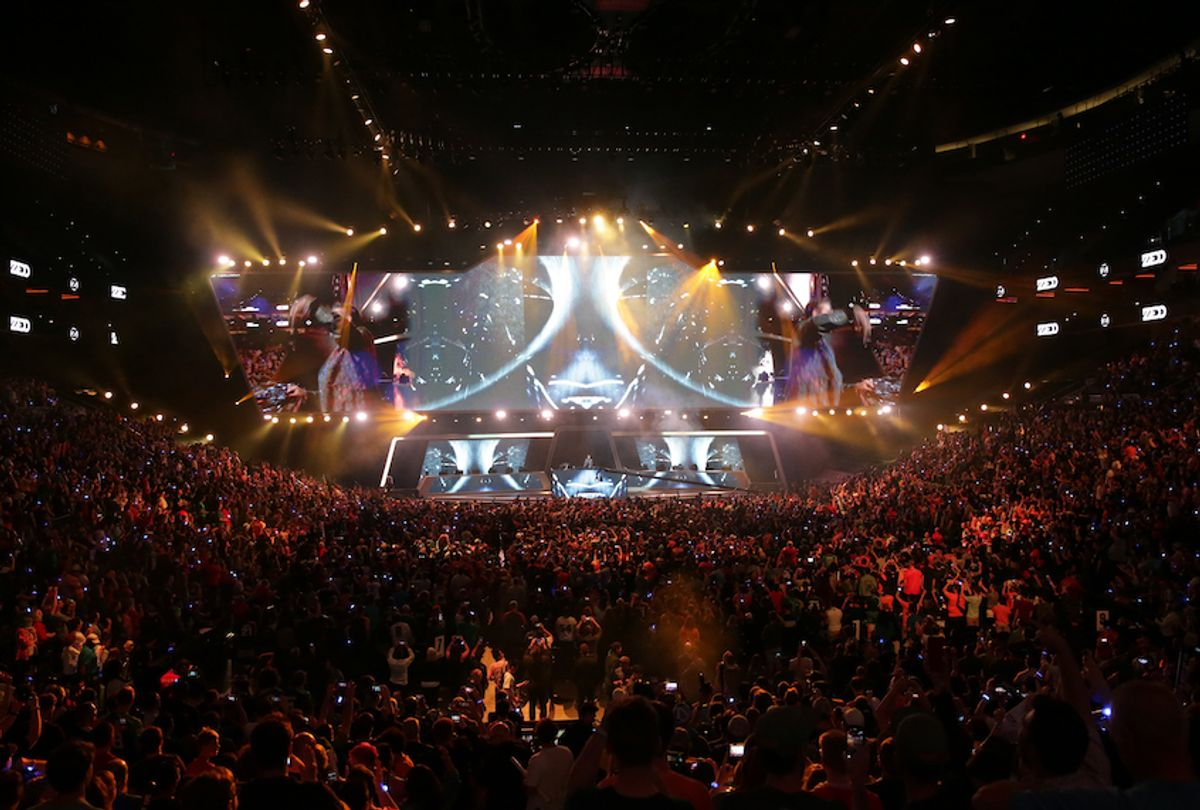 Fans watch the opening entertainment of the Overwatch League Grand Finals at the Wells Fargo Center on September 29, 2019 in Philadelphia, Pennsylvania. (Hunter Martin/Getty Images)