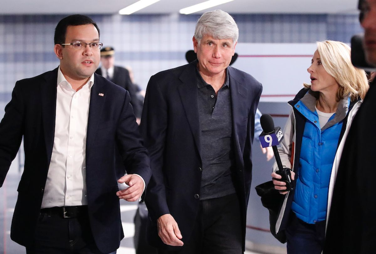 Former Illinois governor Rod Blagojevich arrives at O'Hare International Airport after being released from prison on February 19, 2020 in Chicago, Illinois. (Kamil Krzaczynski/AFP via Getty)