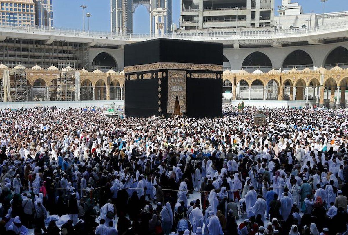 Muslim pilgrims walk around the Kaaba (Tawaf al-Wadaa), Islam's holiest shrine, at the Grand Mosque in Saudi Arabia's holy city of Mecca on February 27, 2020. (Abdel Ghani Bashir/AFP via Getty Images)