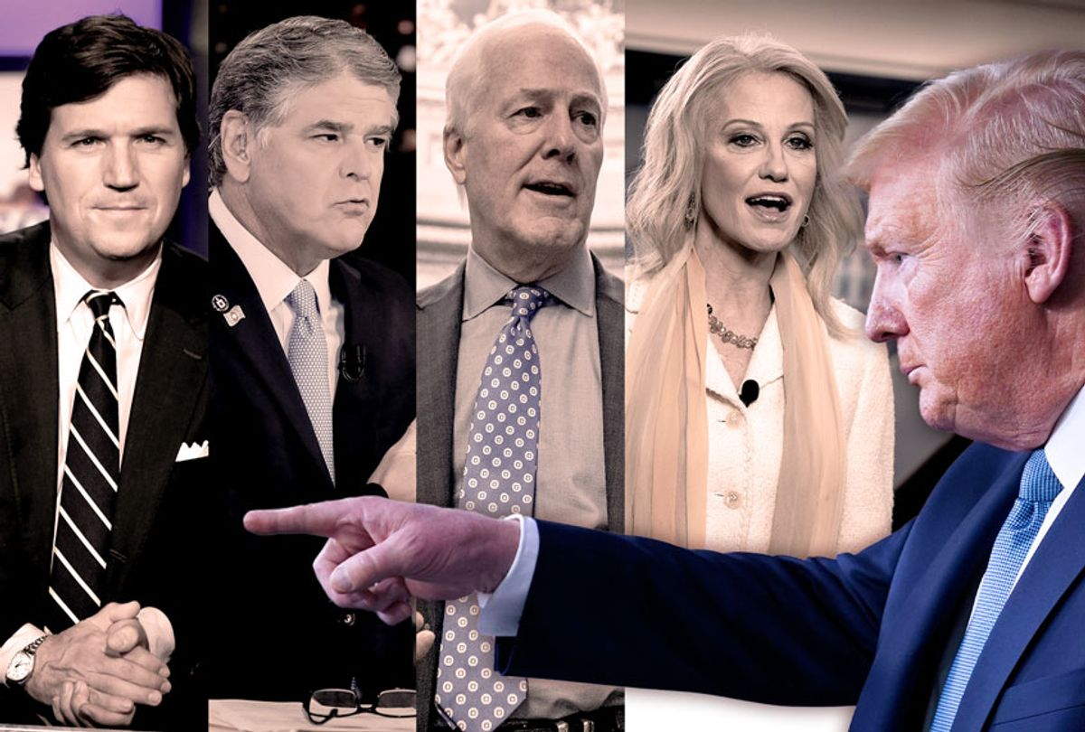 Donald Trump, Tucker Carlson, Sean Hannity, John Cornyn, and Kellyanne Conway (Getty Images/AP Photo/Salon)