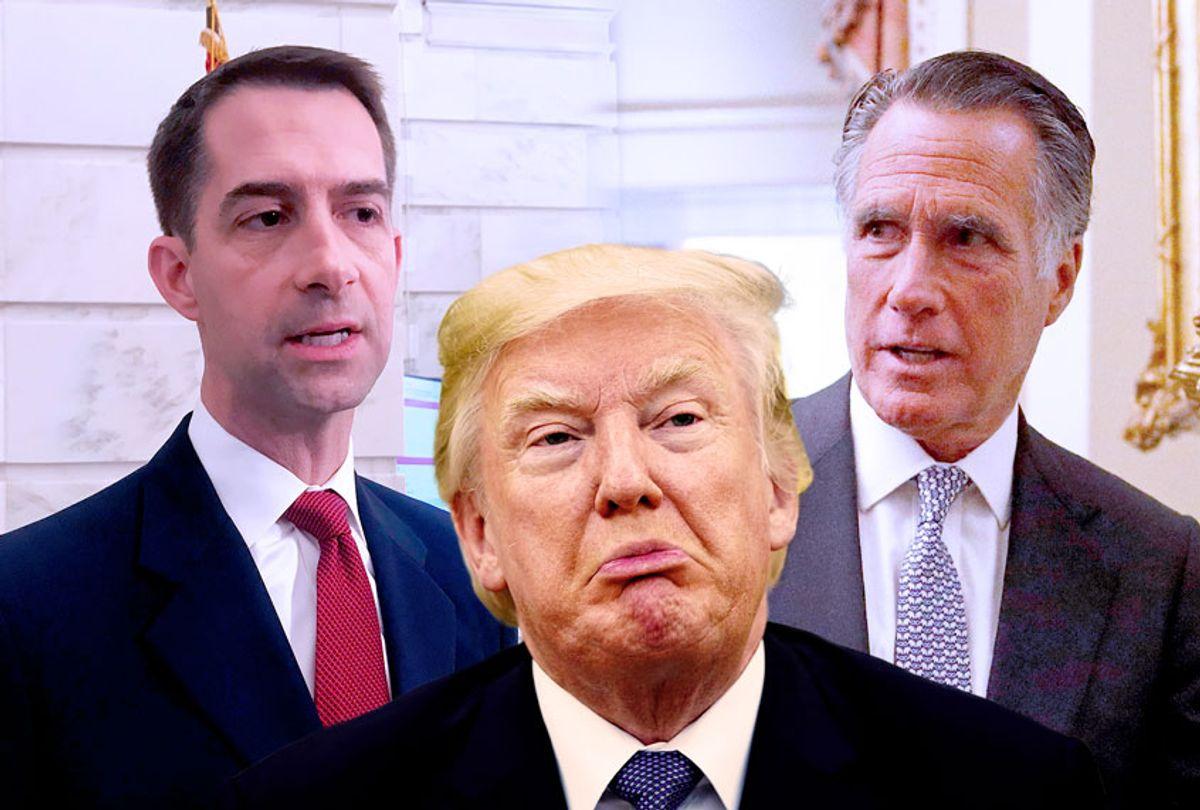 Donald Trump, Tom Cotton and Mitt Romeny (Getty Images/AP Photo/Salon)