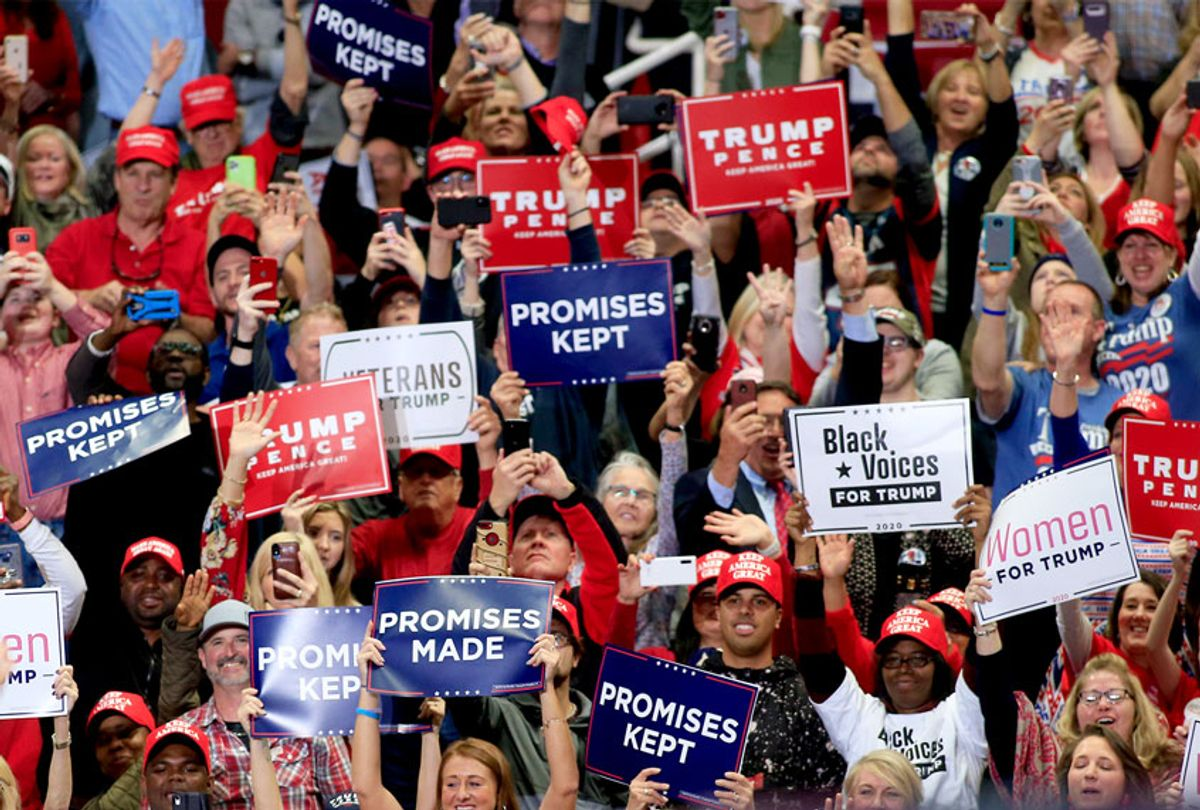 President Donald Trump speaks to supporters during a rally on March 2, 2020 in Charlotte, North Carolina. Trump was campaigning ahead of Super Tuesday. (Brian Blanco/Getty Images)