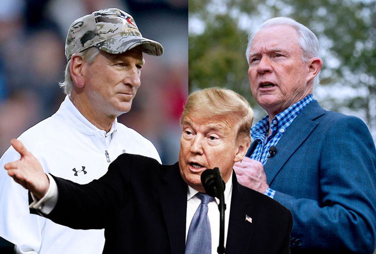 Donald Trump, Tommy Tuberville and Jeff Sessions (AP Photo/Getty Images/Salon)