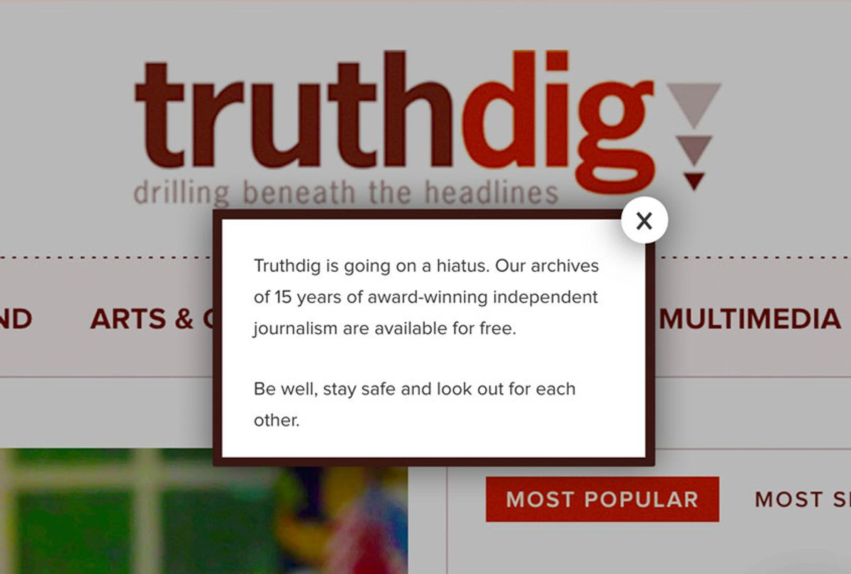 Truthdig's homepage hiatus message, March 26, 2020 (Truthdig)