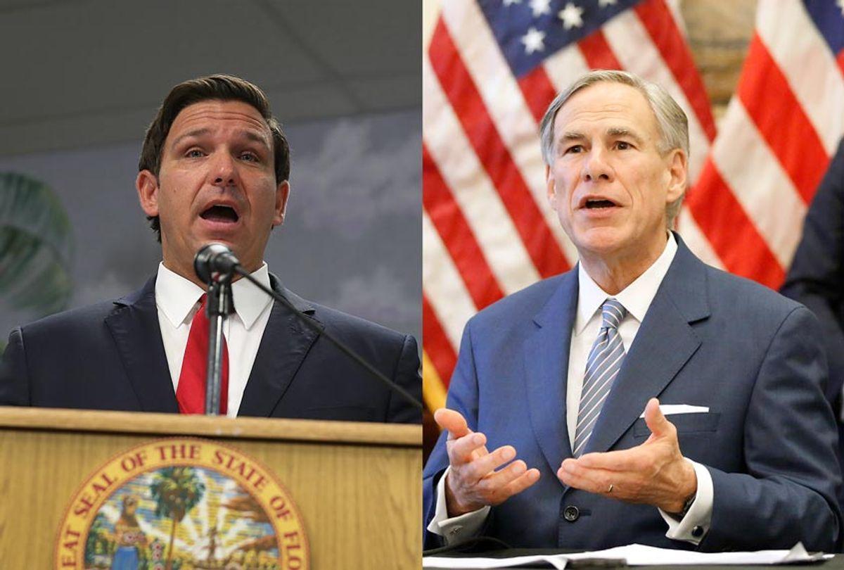 Florida Gov. Ron DeSantis and Texas Gov. Greg Abbott (Tom Fox-Pool/Joe Raedle/Getty Images)
