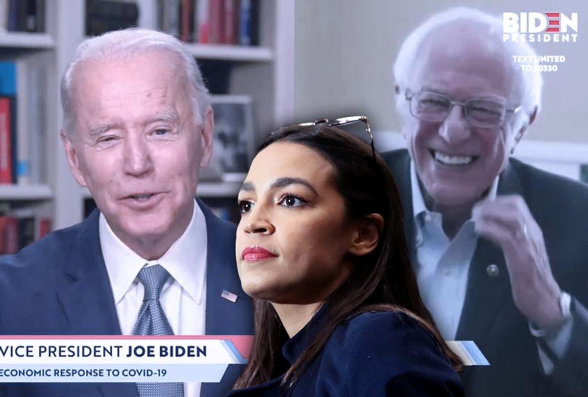 Alexandria Ocasio-Cortez, Joe Biden and Bernie Sanders (Getty Images/Salon)