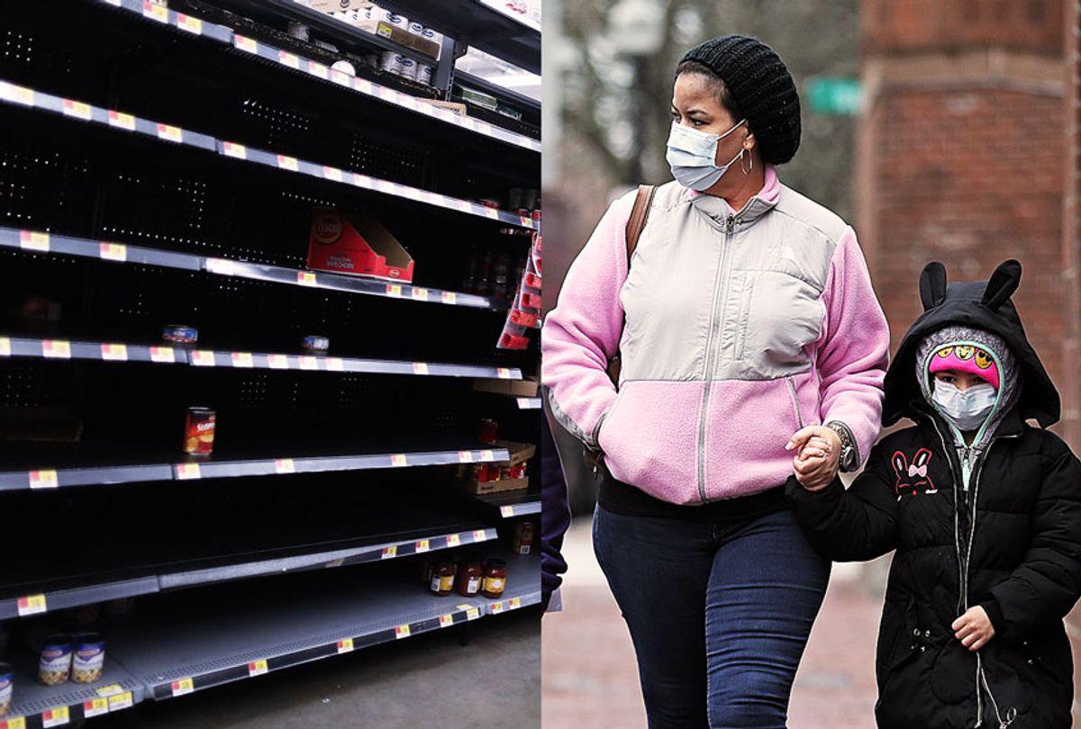 Bare shelves in a supermarket | Parent and child wearing medical face masks (Getty Images/Salon)