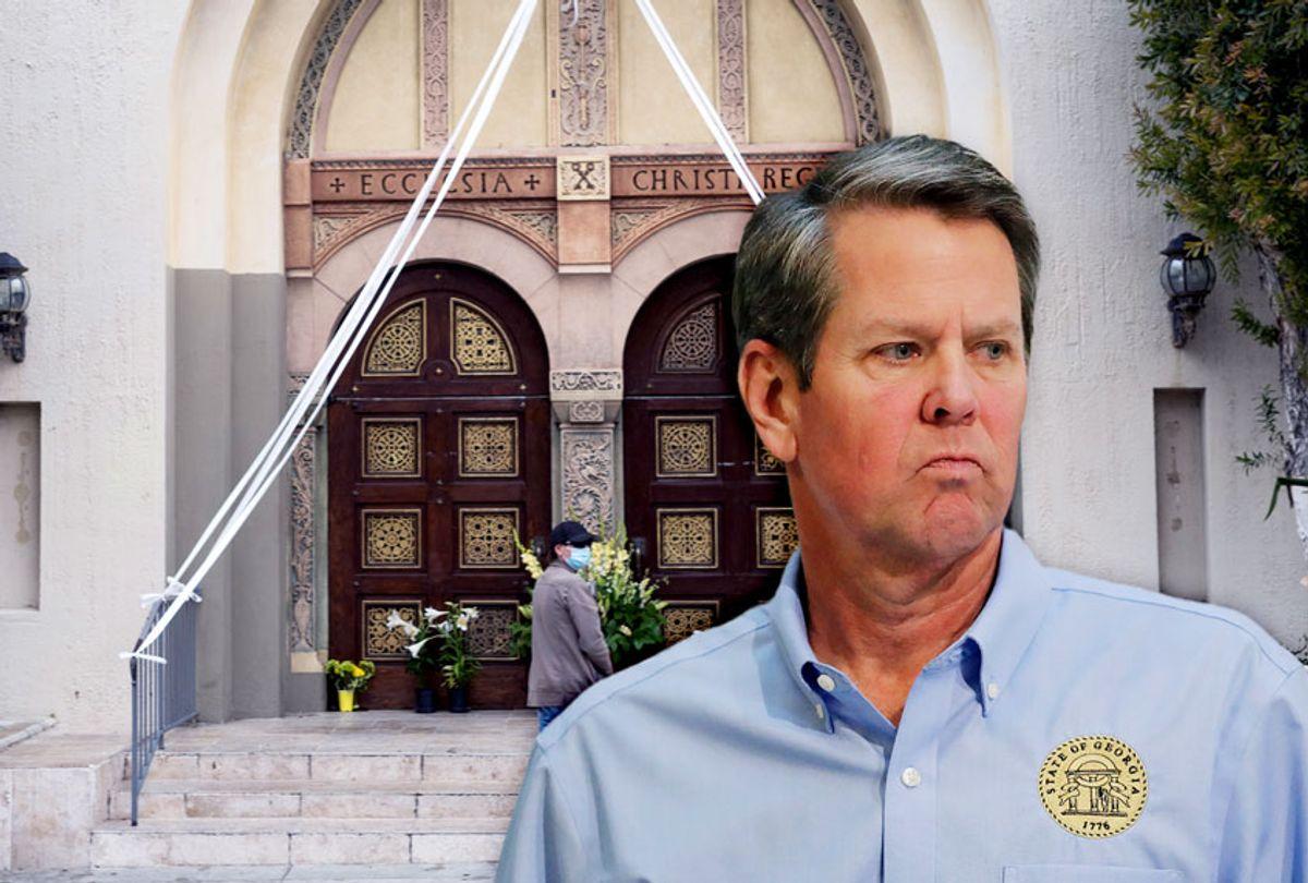 Georgia Gov. Brian Kemp | Closed Church (AP Photo/Damian Dovarganes/Brynn Anderson)