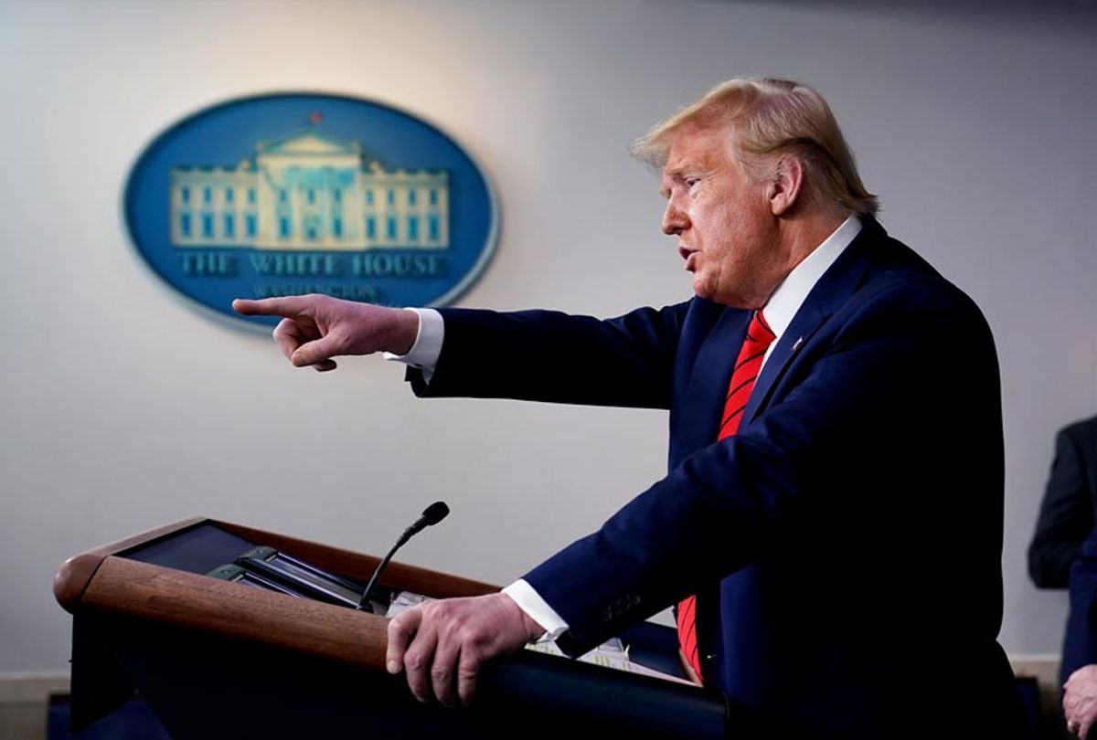 President Donald Trump speaks during press briefing with the coronavirus task force, at the White House (AP Photo/Evan Vucci)
