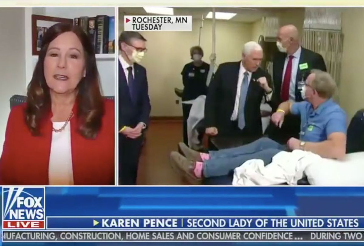 On Fox & Friends, Karen Pence defends her husband for not wearing a mask at the Mayo Clinic (Fox News)