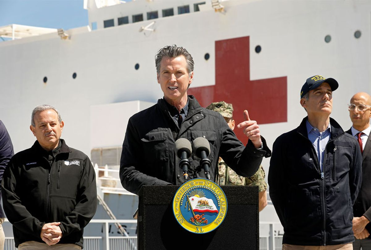 California Governor Gavin Newsom speaks in front of the hospital ship USNS Mercy (Carolyn Cole-Pool/Getty Images)