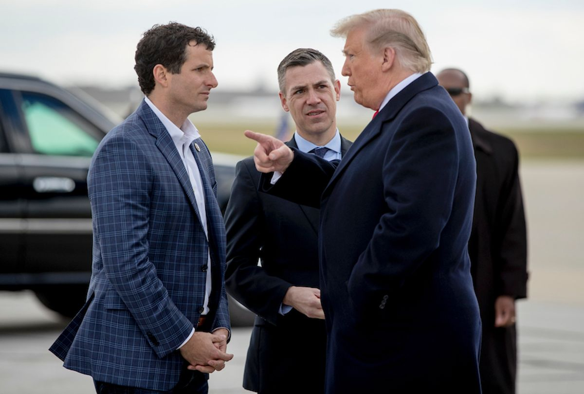 President Donald Trump and Rep. Trey Hollingsworth, R-Ind., (left) in 2018. (AP Photo/Andrew Harnik)