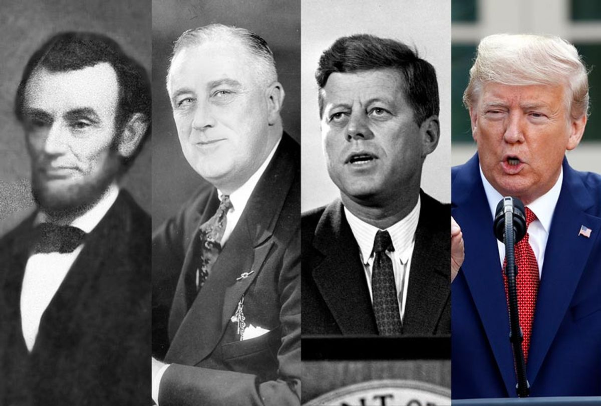 Abraham Lincoln, Franklin D. Roosevelt, John F. Kennedy, and Donald J. Trump (AP Photo/Salon)