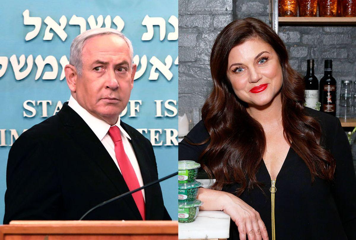 Israeli Prime Minister Benjamin Netanyahu and American actress Tiffani Thiessen (Gali Tibbon/Pool/AP/Lars Niki/Getty Images/Gourmet Garden)