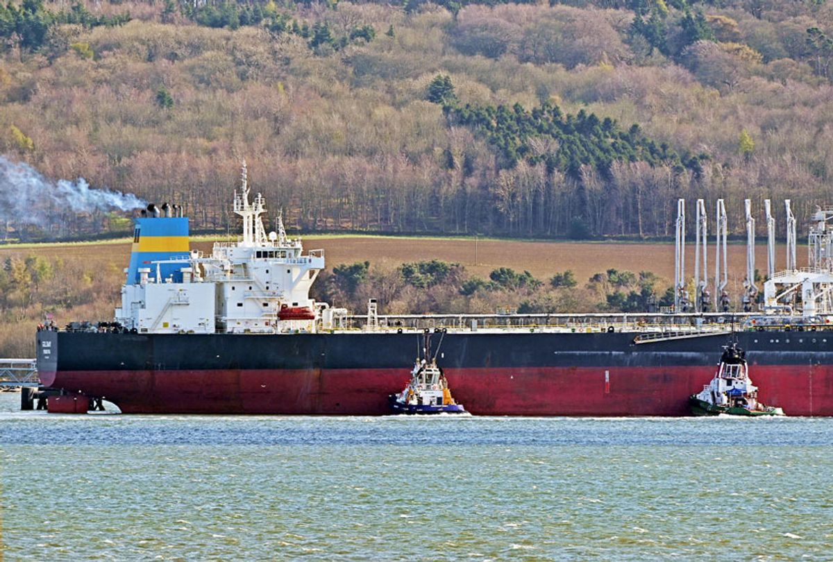 The Liberian-registered oil tanker Goldway berths at Hound Point Oil Terminal on the Forth Estuary, as uncertainty continues in the global oil market as a result of the coronavirus (COVID-19) crisis (Ken Jack/Getty Images)