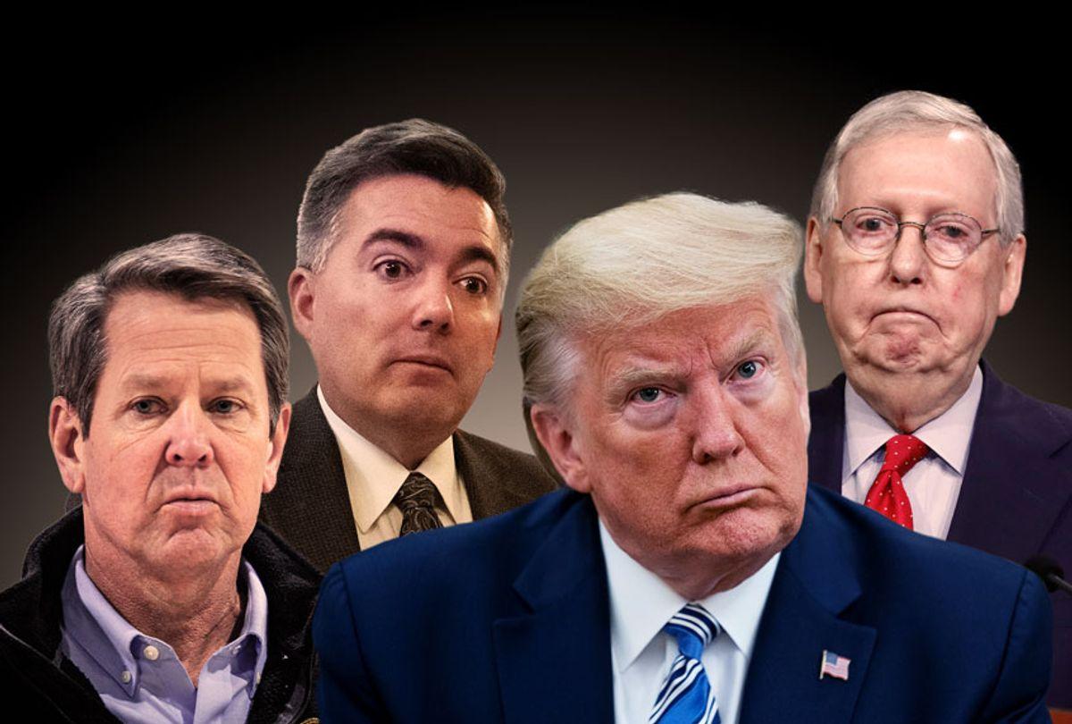 Donald Trump, Brian Kemp, Cory Gardner, and Mitch McConnell (AP Photo/Salon)