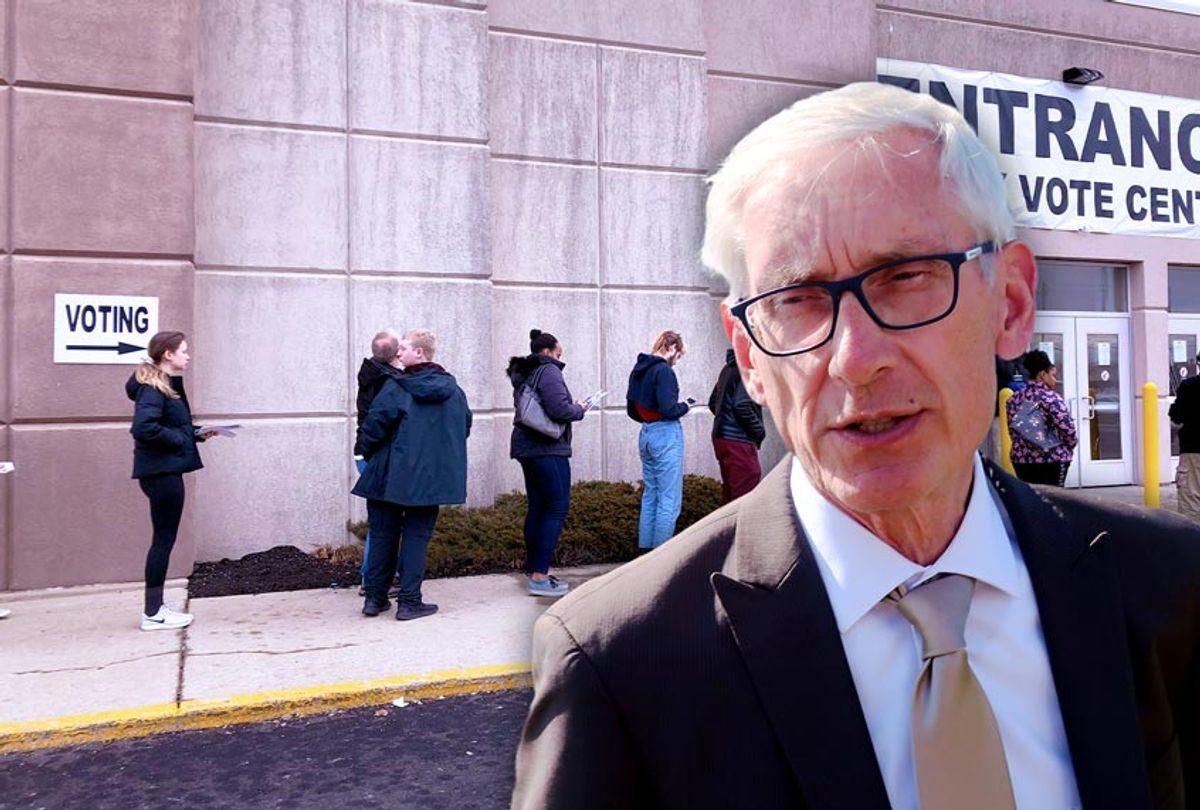Gov. Tony Evers | Line at a voting center (AP Photo/Scott Bauer/Julie Carr Smyth)
