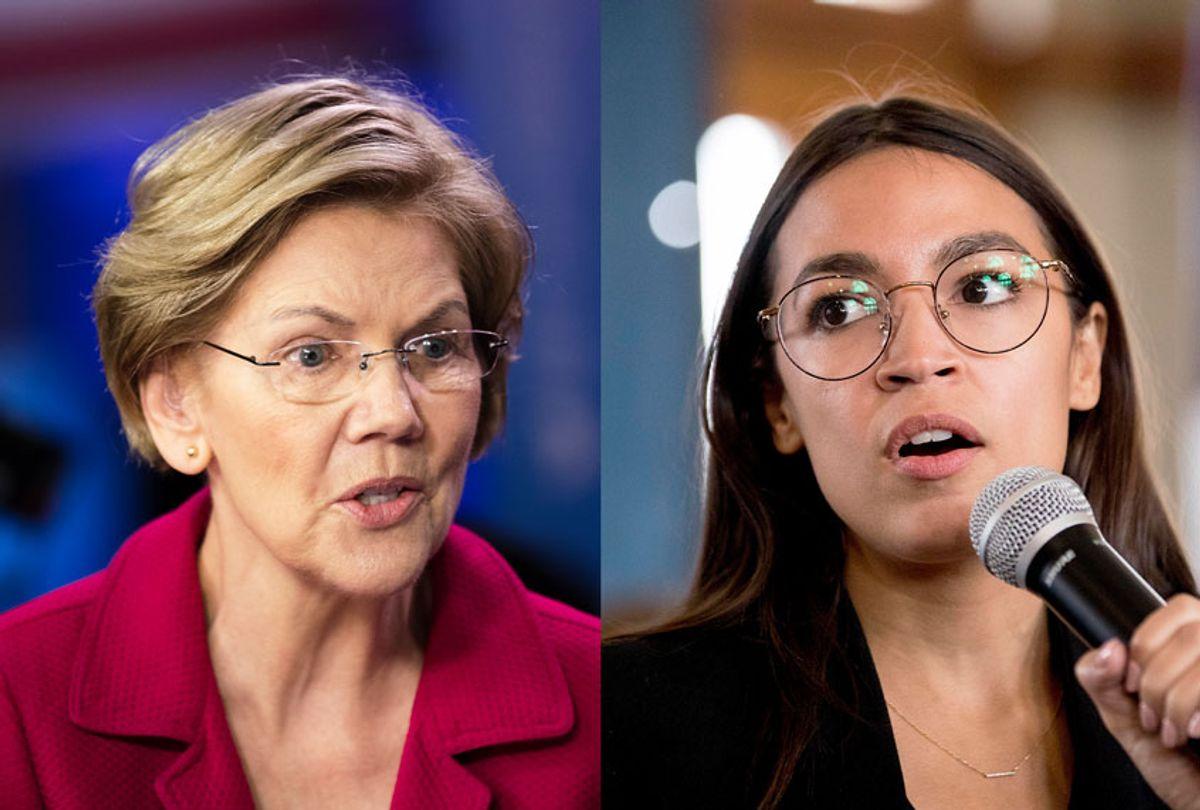 Sen. Elizabeth Warren and Rep. Alexandria Ocasio-Cortez (AP Photo/Matt Rourke/Andrew Harnik)