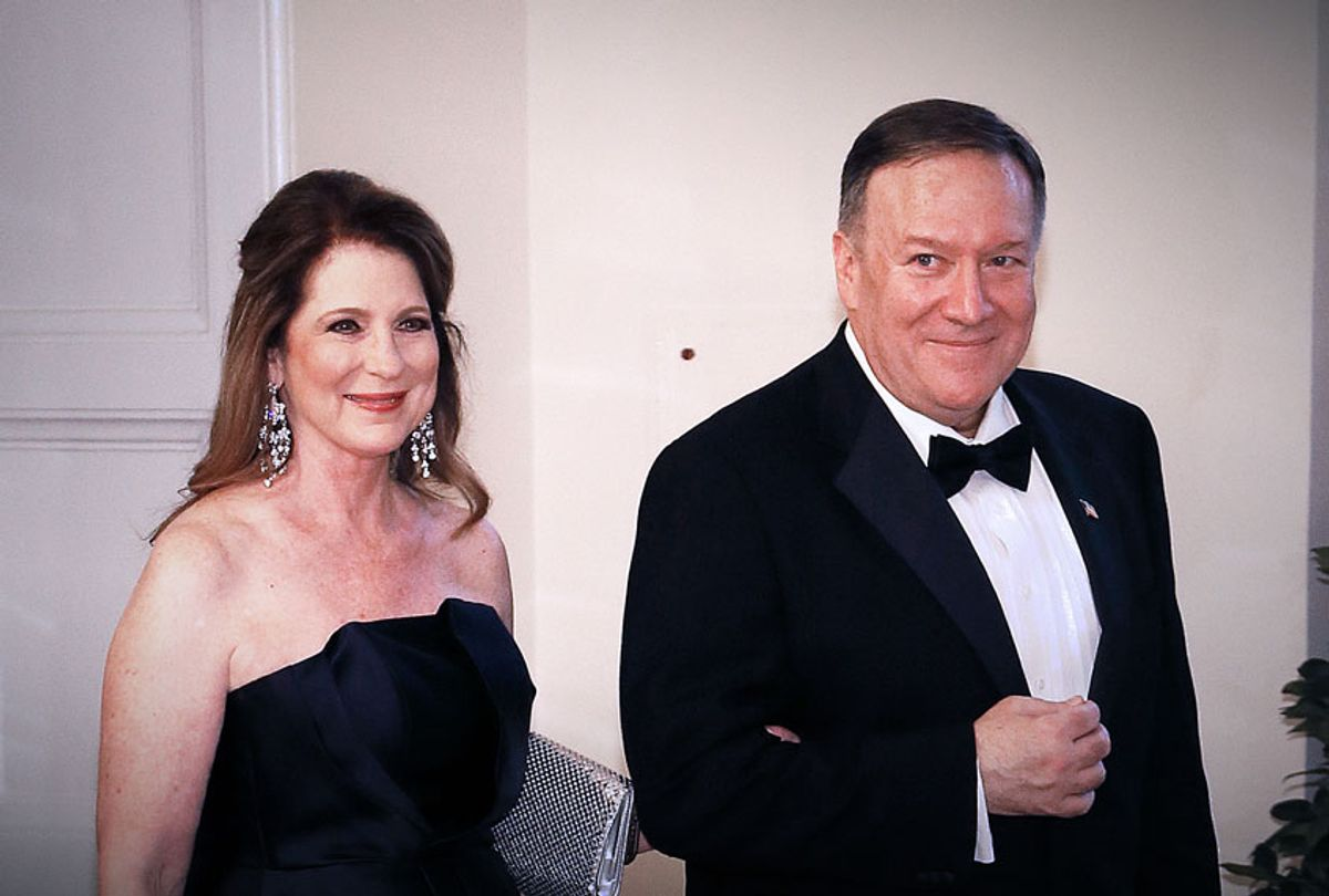 Secretary of State Michael Pompeo (R) and Susan Pompeo arrive for the State Dinner at The White House (Paul Morigi/Getty Images)