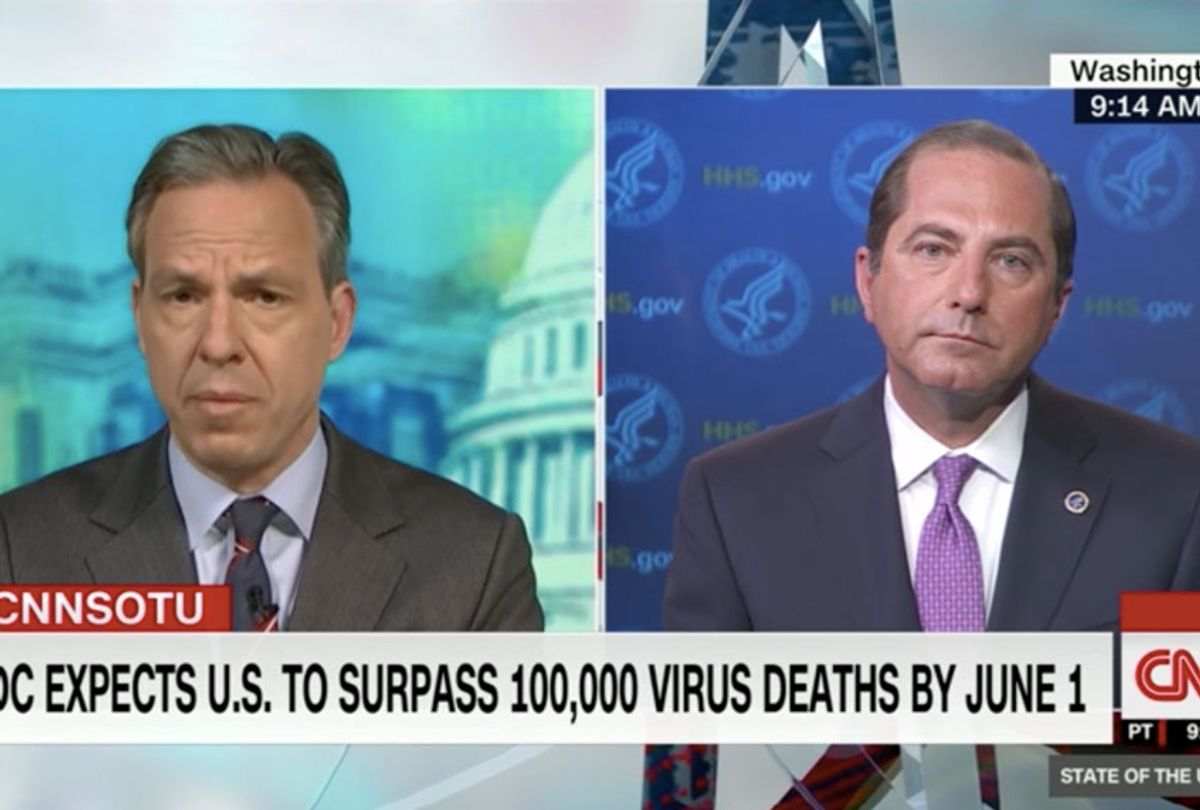 Jake Tapper presses Health and Human Services Secretary Alex Azar about the high death toll in the US from Covid-19. (CNN)