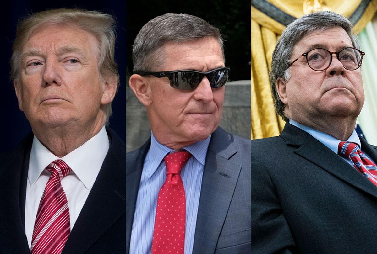 Donald Trump, Michael Flynn and Bill Barr (Getty Images/Salon)