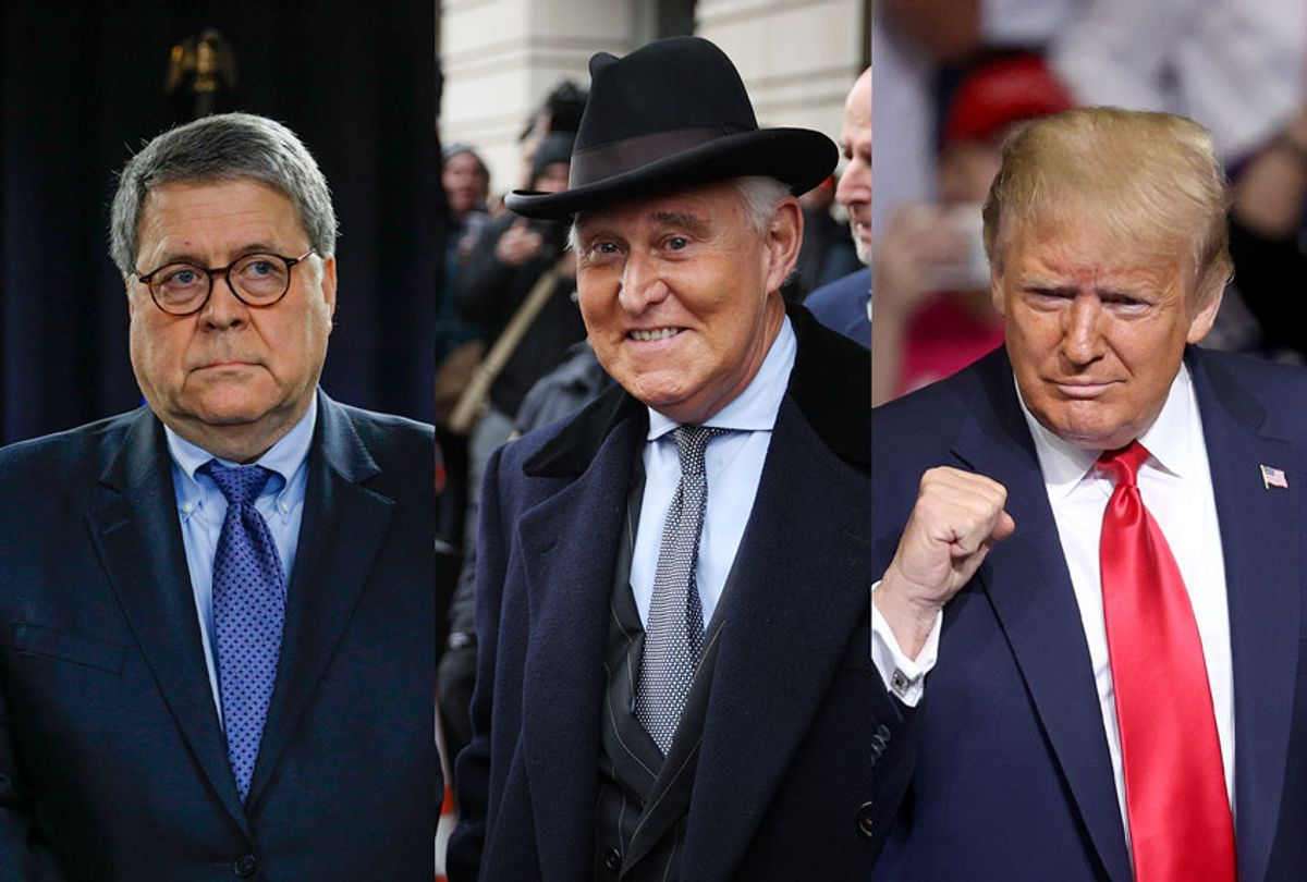 William Barr, Roger Stone and Donald Trump (Getty Images/Salon)