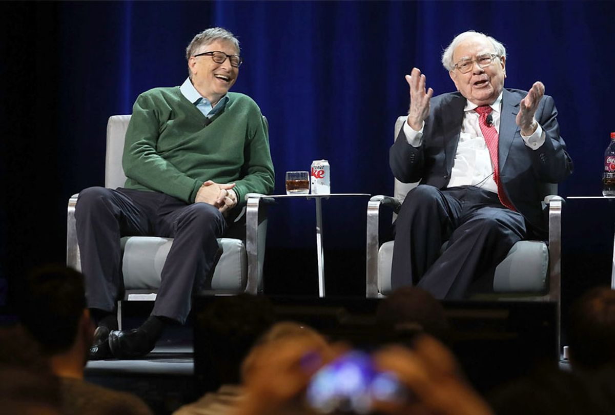 Bill Gates and Warren Buffett speak with journalist Charlie Rose at an event organized by Columbia Business School on January 27, 2017 in New York City. (Spencer Platt/Getty Images)