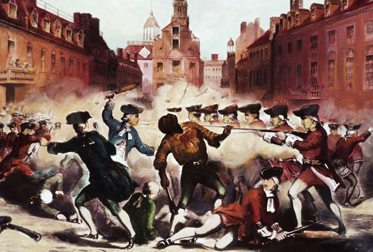 Painting of the Boston Massacre showing Crispus Attucks, one of the leaders of the demonstration and one of the five men killed by the gun fire of the British troops, as he is shot. The Boston Massacre took place in 1770 and was a preliminary riot in the War of Independence from the British. (Getty Images)