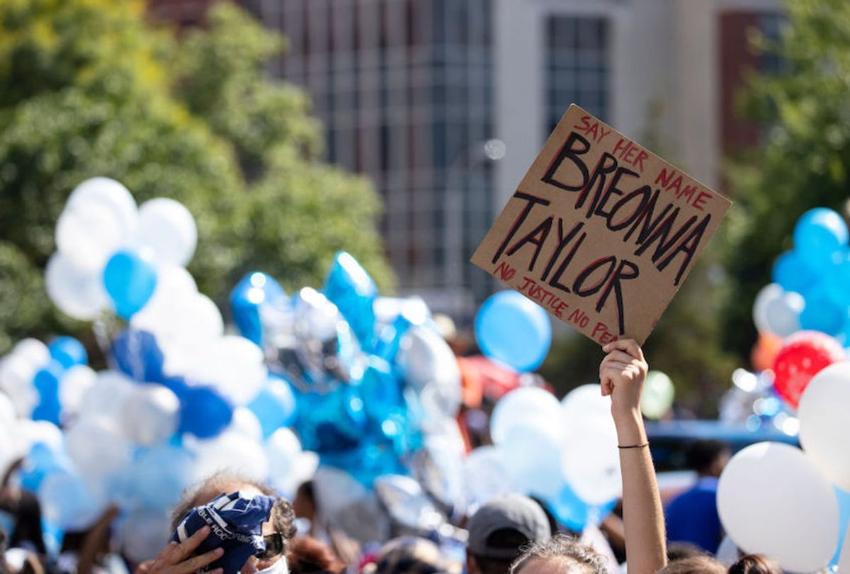 People gather with balloons for a vigil in memory of Breonna Taylor on June 6, 2020 in Louisville, Kentucky. (Brett Carlsen/Getty Images)