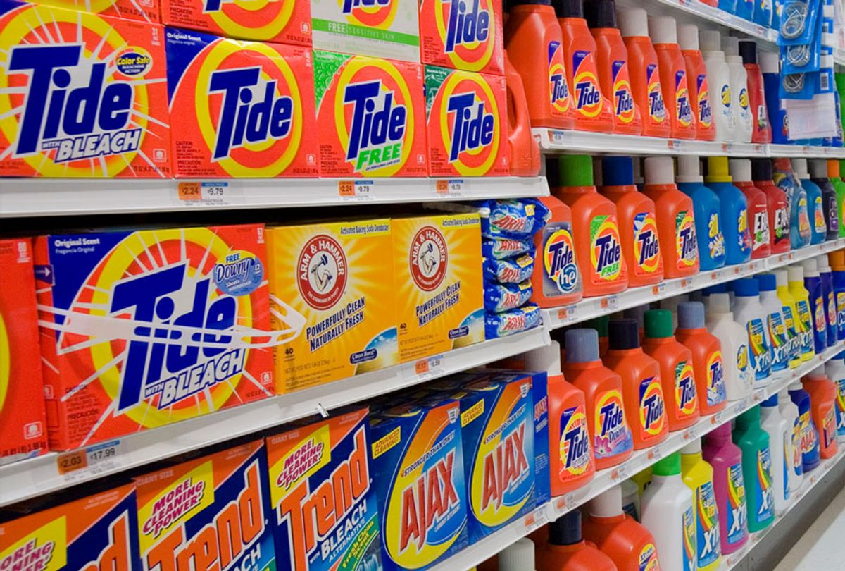 Cleaning supplies and laundry detergent for sale at a supermarket (James Leynse/Corbis via Getty Images)