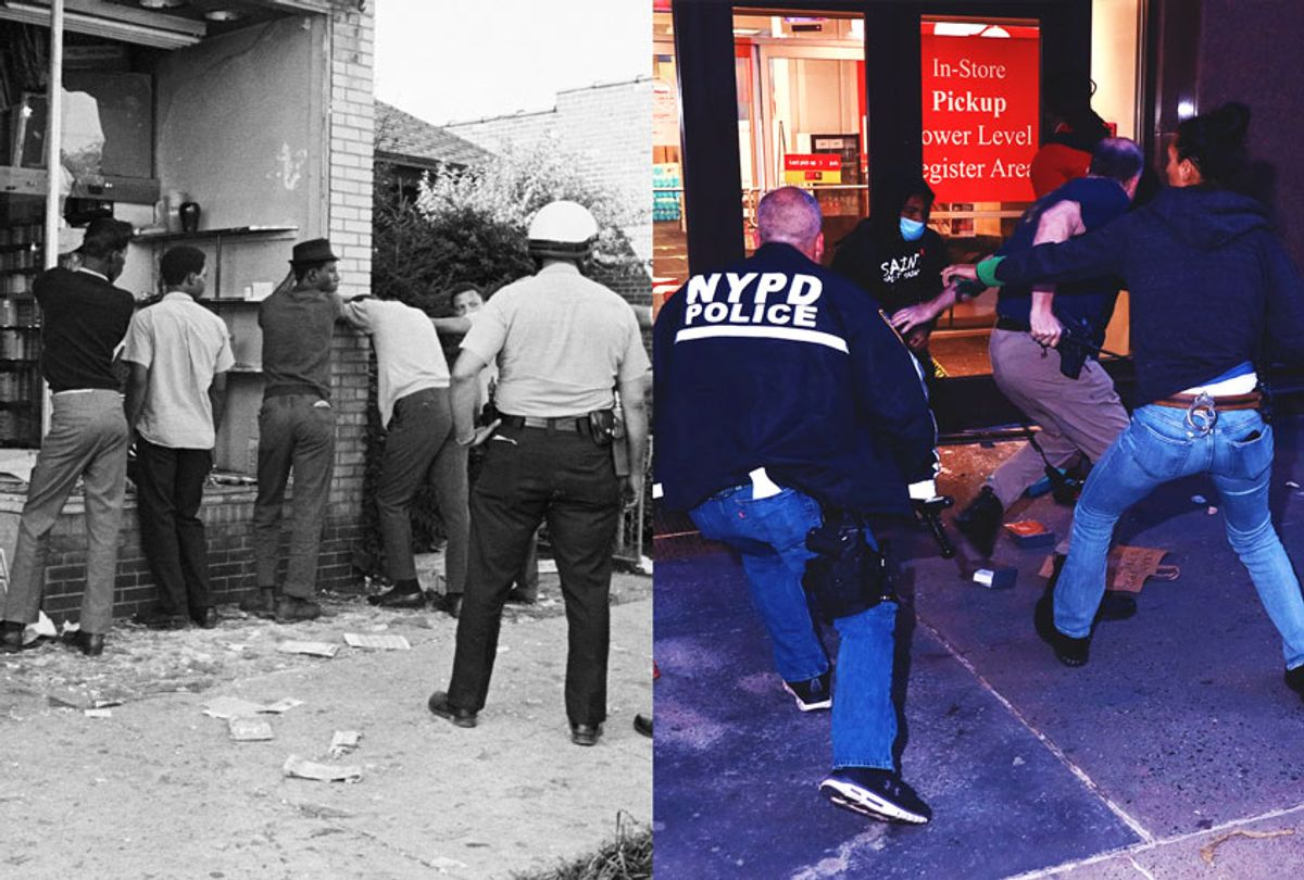 Police officers search men accused of looting during race riots in Detroit, Michigan | Police officers intervene people who exit damaged store after the glass was knocked out in Midtown, NYC (Getty Images/Salon)