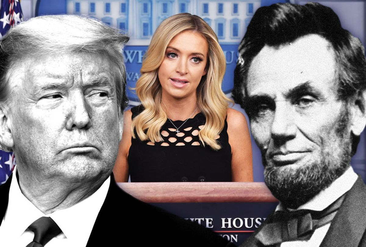 Kayleigh McEnany, Donald Trump and Abe Lincoln (Photo illustration by Salon/Getty Images)