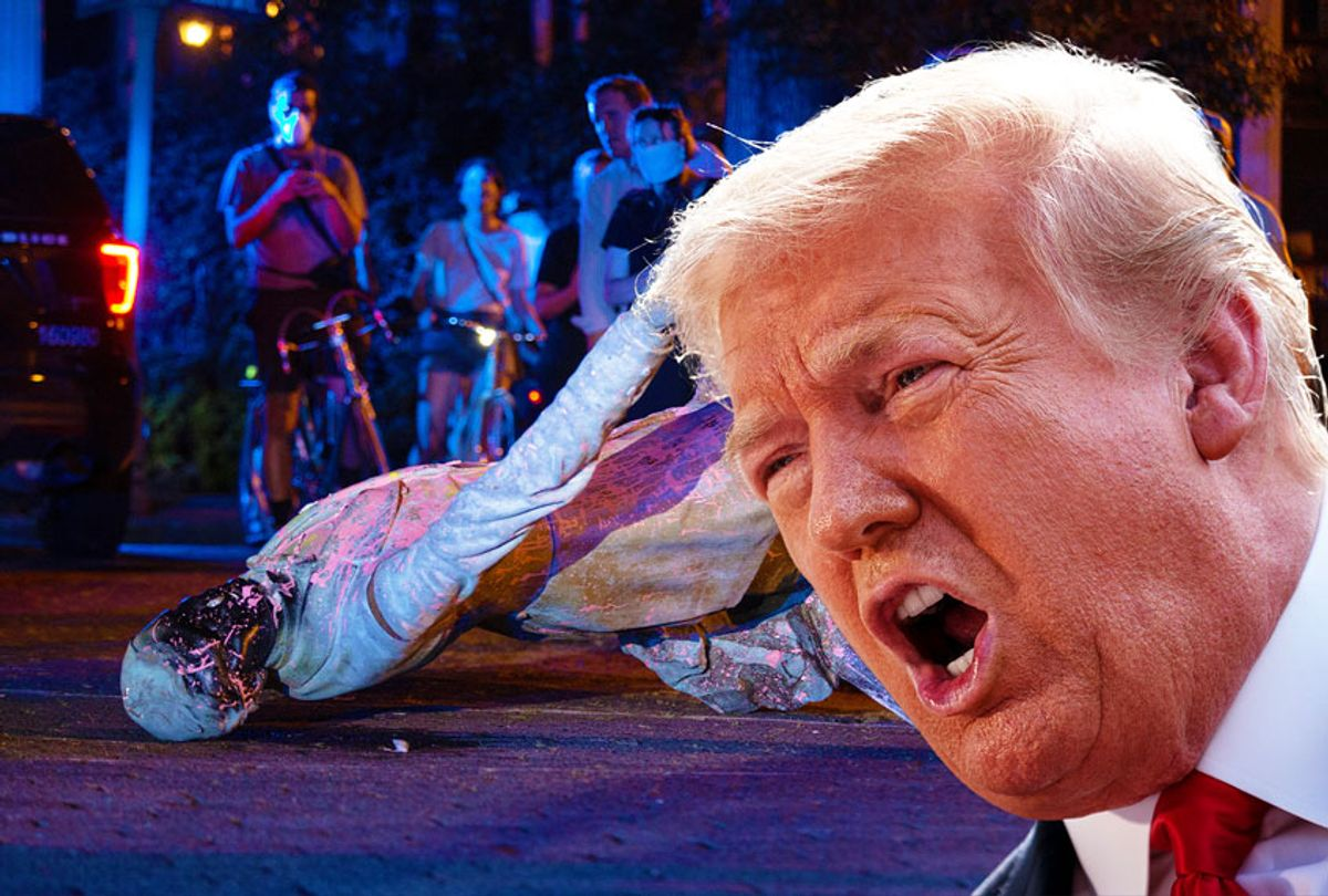 Donald Trump   A statue of Confederate States President Jefferson Davis lies on the street after protesters pulled it down in Richmond, Virginia, on June 10, 2020 (Getty Images/Salon)