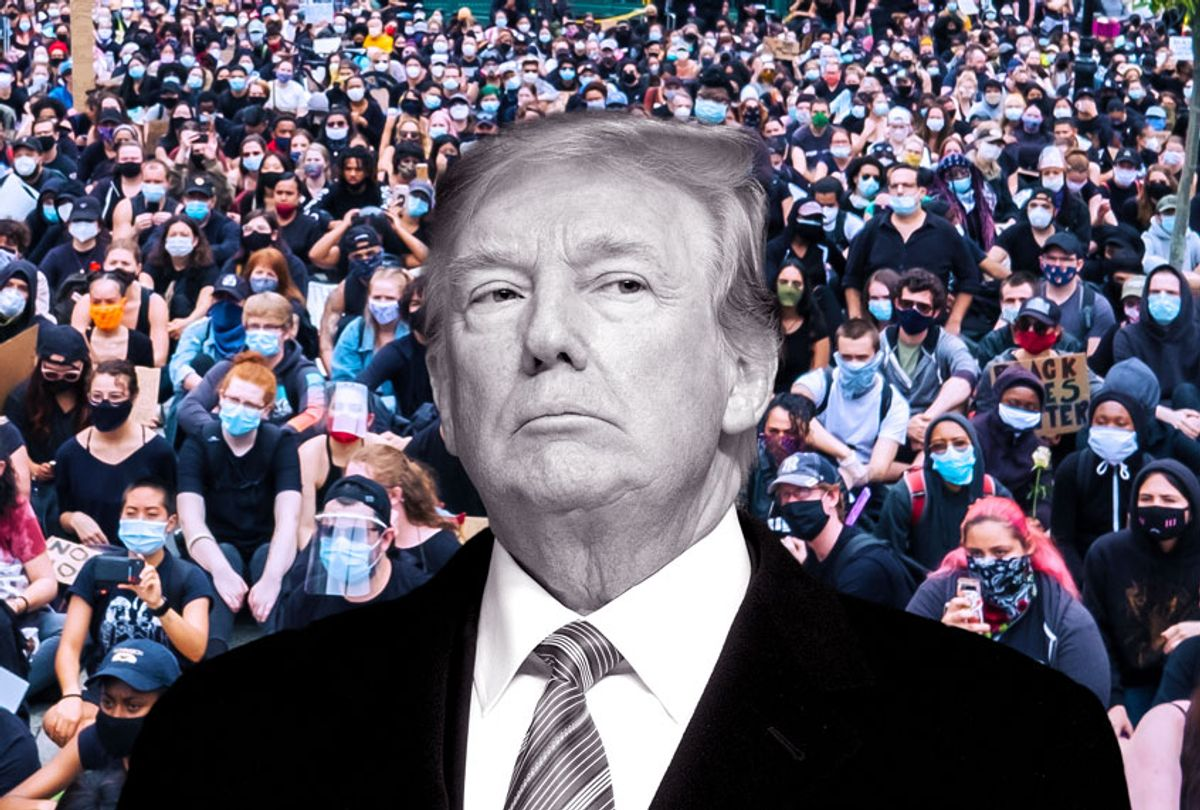 Donald Trump| A massive group of protesters sit on the ground at Foley Square (Getty Images/Salon)