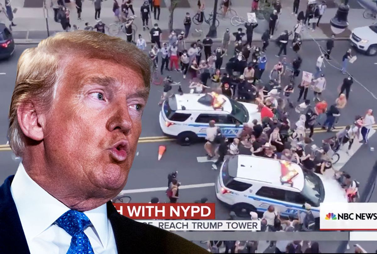 Donald Trump   Two NYPD cars drove into a crowd of protestors (Photo illustration by Salon/NBC/Getty Images)