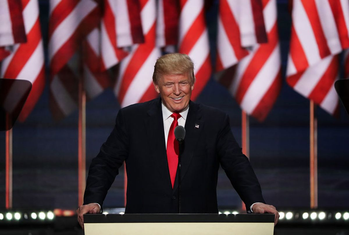 Republican presidential candidate Donald Trump acknowledges the crowd during the evening session on the fourth day of the Republican National Convention on July 21, 2016 (Alex Wong/Getty Images)