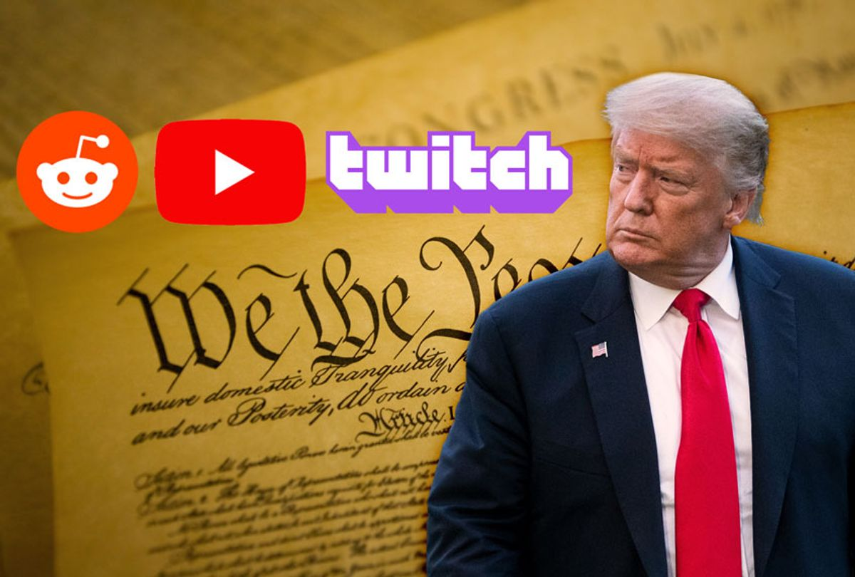 Donald Trump VS freedom of speech  (Photo illustration by Salon/Getty Images/Reddit/Youtube/Twitch)