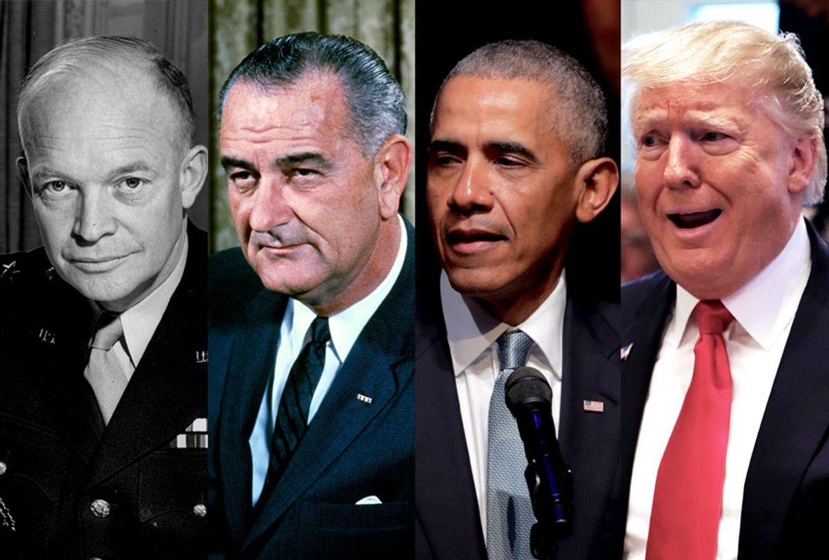 Dwight Eisenhower, Lyndon B. Johnson, Barack Obama and Donald Trump (Getty Images/Salon)